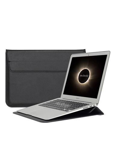 Mcstorey MacBook Air Retina 13.3 13  Vegan Deri Çanta Zarf Kılıf Sleevebag  Stand Siyah